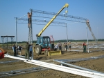 Erection of the steel frame